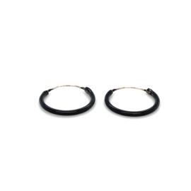 Zilveren oorringen  zwart 14 mm