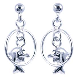 Zilveren kinderoorbellen dolfijn in rondje hangers
