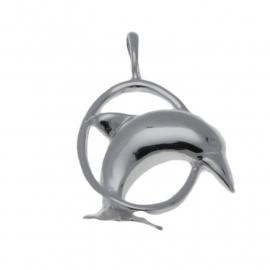 Zilveren bedel dolfijn in ring groot