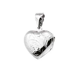 Zilveren bedel medaillon hart 19,5 mm