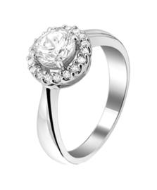Zilveren ring zirkonia maat 16,5-19