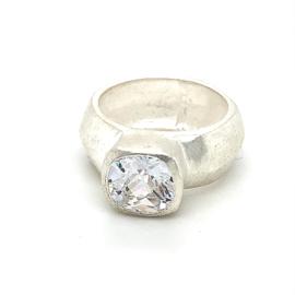 Zilveren ring zirkonia grote steen mt 16,5