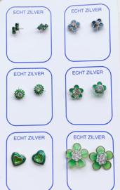 Zilveren oorknopjes unieke set groen