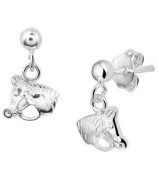 Zilveren oorhangers paardenhoofd met steker