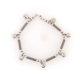 Zilveren armband met belletjes geoxideerd 20 cm
