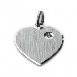Zilveren graveerhartje zirkonia 15,5 x 17,5 mm