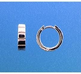 Zilveren klapoorringen geribbelde rand 13,5 x 4 mm