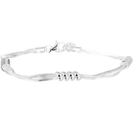 Zilveren armband dubbel gourmet 18 + 3 cm
