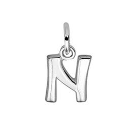 Zilveren bedel letter N