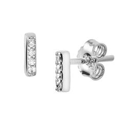 Zilveren oorknoppen staafje zirkonia rij 5,5 mm