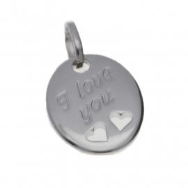 Zilver graveerplaatje ovaal met hartjes en I love you