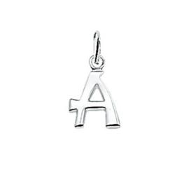 Zilveren bedel letter A