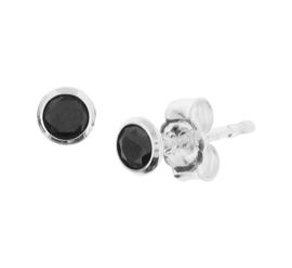 Zilveren oorknoppen zirkonia zwart rond klein