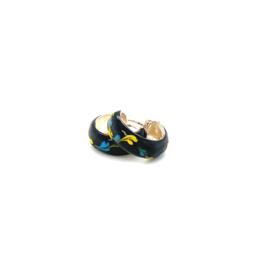 Zilveren oorringen  zwart 13mm
