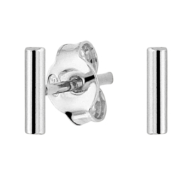 Zilveren oorknoppen staafje rond 6 mm