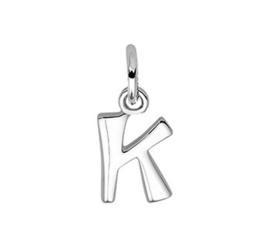 Zilveren bedel letter K