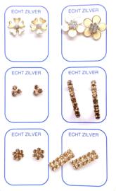 Zilveren oorknopjes unieke set bruin en wit