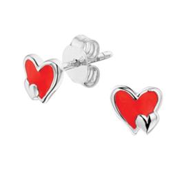 Zilveren oorbellen hartjes rood stekers