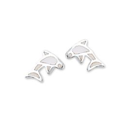 Zilveren kinderoorbellen dolfijn wit stekers