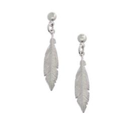 Zilveren oorhangers met steker en veer