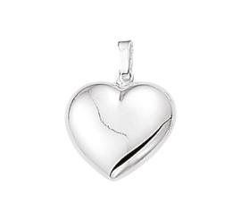 Zilveren bedel hartje glad 6,5 - 15,5 mm