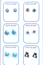Zilveren oorknopjes unieke set blauw