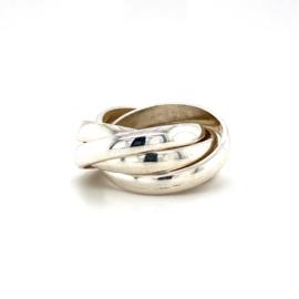 Zilveren ring 5-in-1 gedraaid