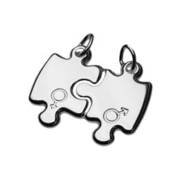 Zilver breekplaatje puzzelstukjes vrouw-man-teken 22 x 25 mm