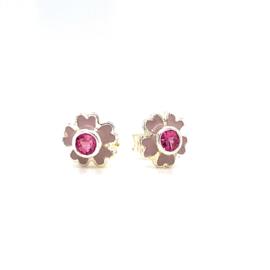 Zilveren oorbellen stekers bloemetjes paars en roze 7 mm