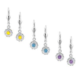 Zilveren kinderoorbellen strass geel/ paars