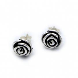 Zilveren oorsteker roosje 10 mm