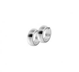 Zilveren klapcreolen bolle buis 4 mm mat