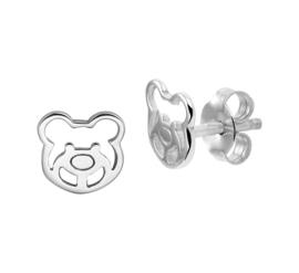 Zilveren oorstekers beertjes berenkop