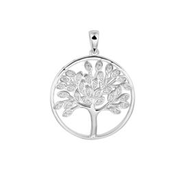 Zilveren bedel Levensboom zirkonia 23 x 30 mm