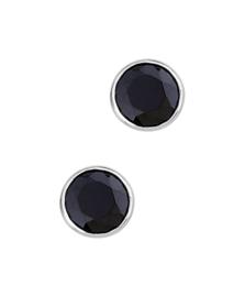 Zilveren oorknoppen zirkonia zwart rond gerhodineerd
