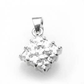 Zilveren bedel zirkonia vierkant 10 mm