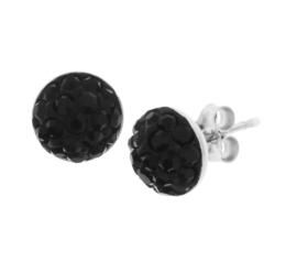Zilveren oorknoppen strass zwart 10 mm