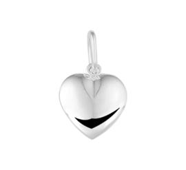 Zilveren bedel hart massief 10 mm