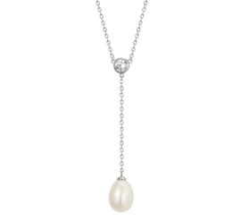 Zilveren ketting dames met parel en zirkonia 41 - 45 cm