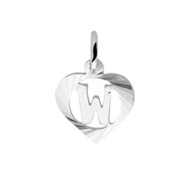 Zilveren bedel hartje met de letter W