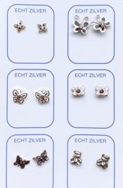 Zilveren oorknopjes unieke set vlinders en beren