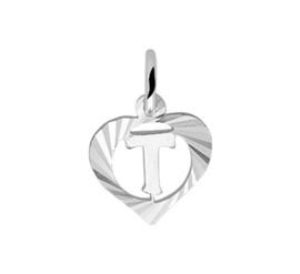 Zilveren bedel hartje met de letter T