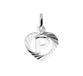 Zilveren bedel hartje met de letter P