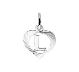 Zilveren bedel hartje met de letter L