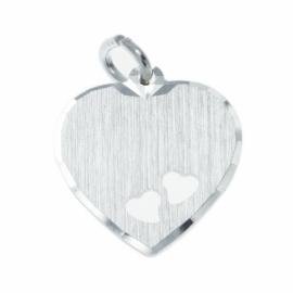 Zilver graveerhartje twee hartjes 15 x 16 mm
