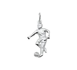 Zilveren bedel voetballer met bal