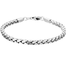 Zilveren armband 21 cm geoxideerd 4mm