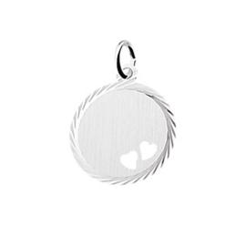 Zilveren graveerplaatje rond met hartjes 18 mm