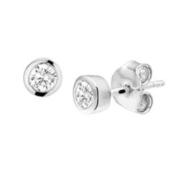 Zilveren oorknoppen strass rond 5 mm