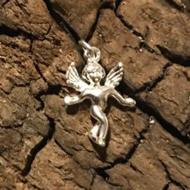 Zilveren bedel engel massief